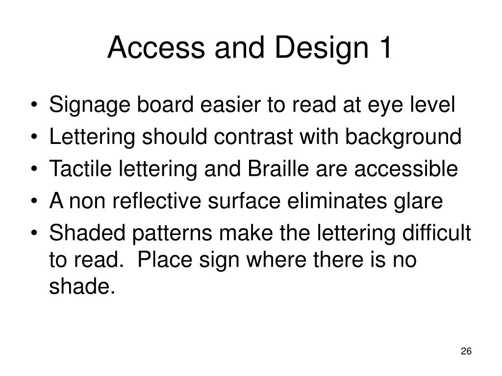 Access and Design 1