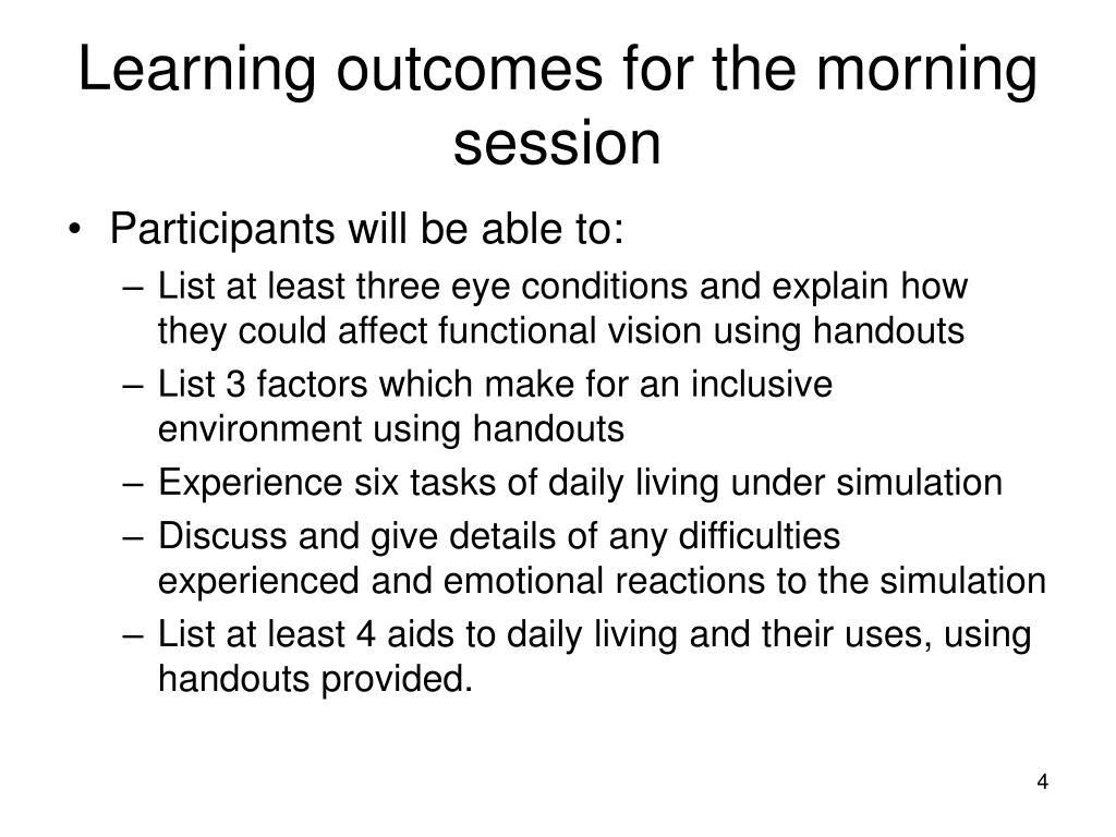 Learning outcomes for the morning session