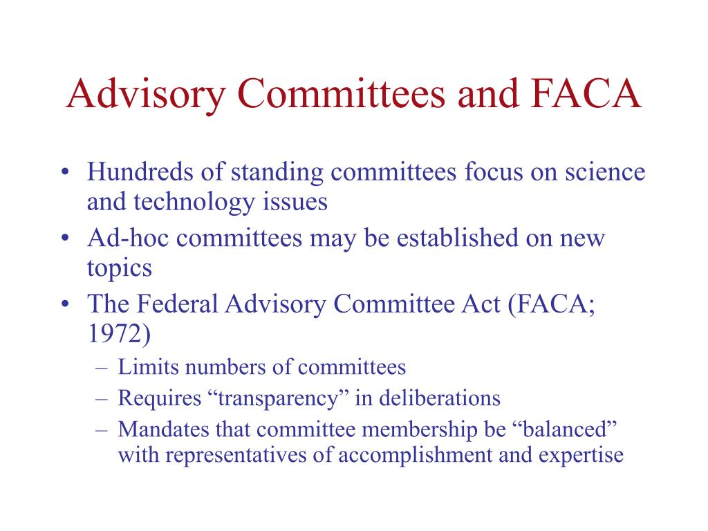 Advisory Committees and FACA