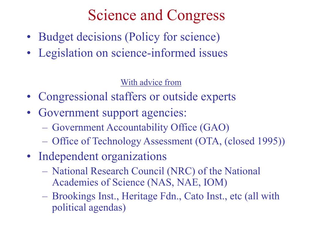 Science and Congress