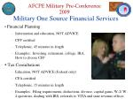 military one source financial services