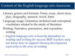 content of the english language arts classroom