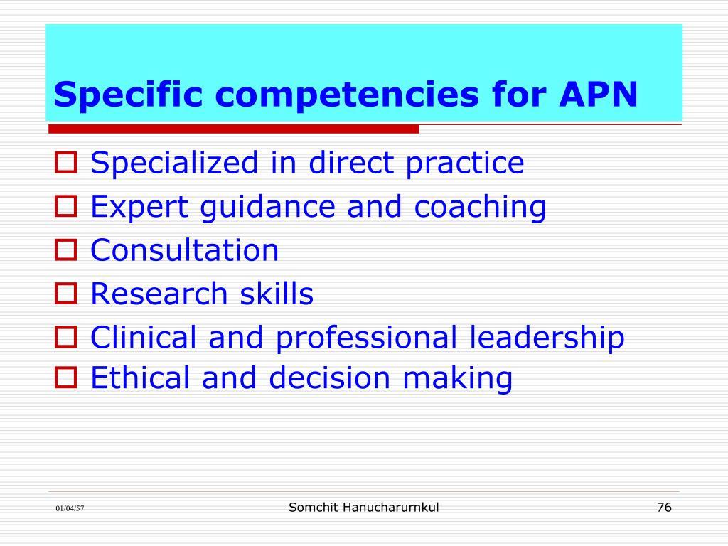 Specific competencies for APN