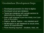 geodatabase development steps
