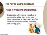 the key to giving feedback