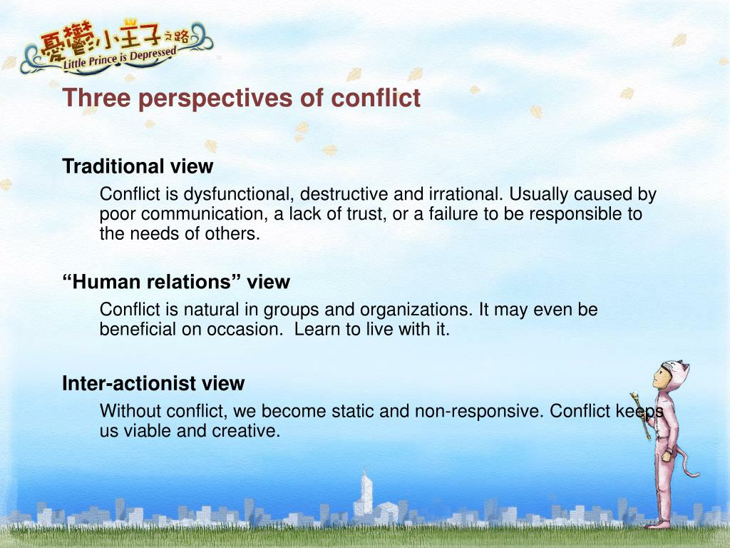 Three perspectives of conflict