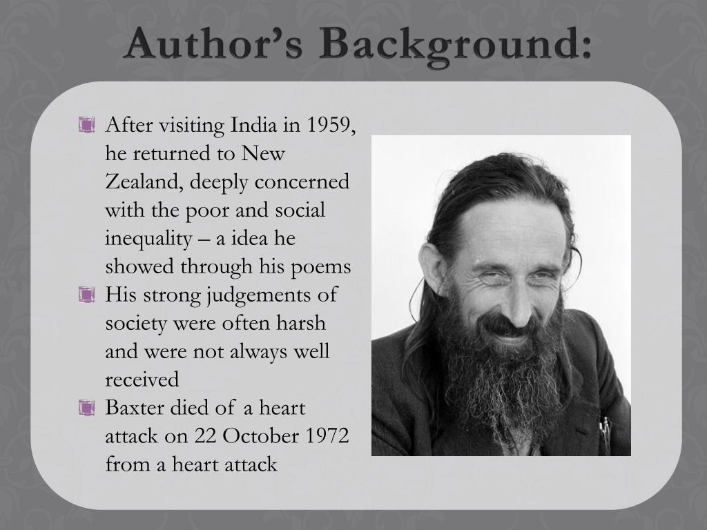 After visiting India in 1959, he returned to New Zealand, deeply concerned with the poor and social inequality – a idea he showed through his poems