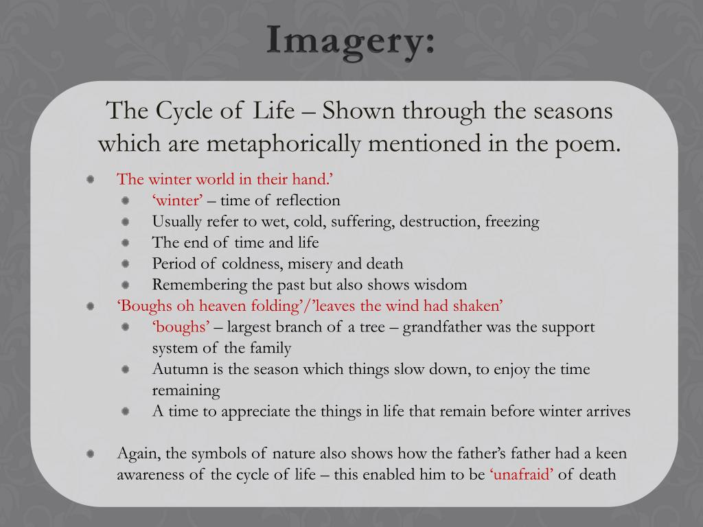 The Cycle of Life – Shown through the seasons which are metaphorically mentioned in the poem.