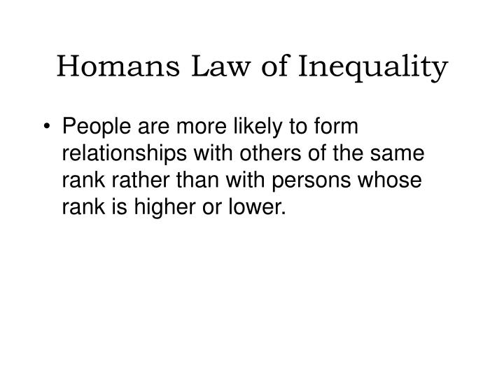 Homans Law of Inequality