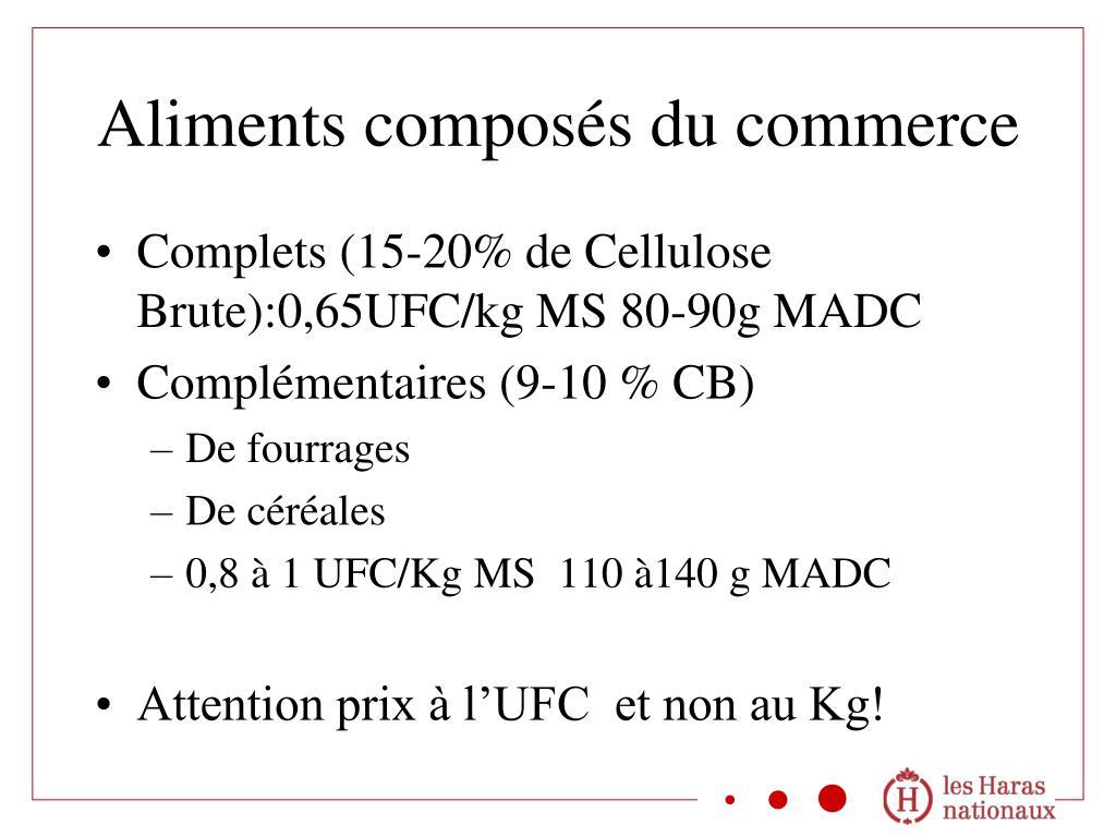 Complets (15-20% de Cellulose Brute):0,65UFC/kg MS 80-90g MADC