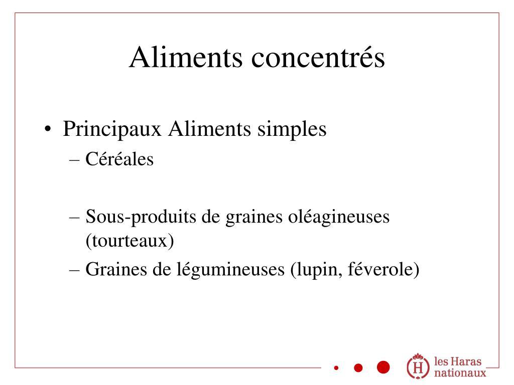 Principaux Aliments simples