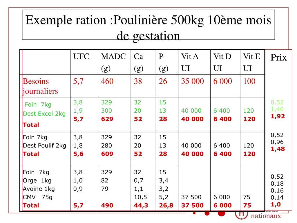Exemple ration :Poulinière 500kg 10ème mois de gestation