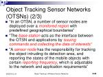 object tracking sensor networks otsns 2 3