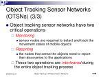 object tracking sensor networks otsns 3 3