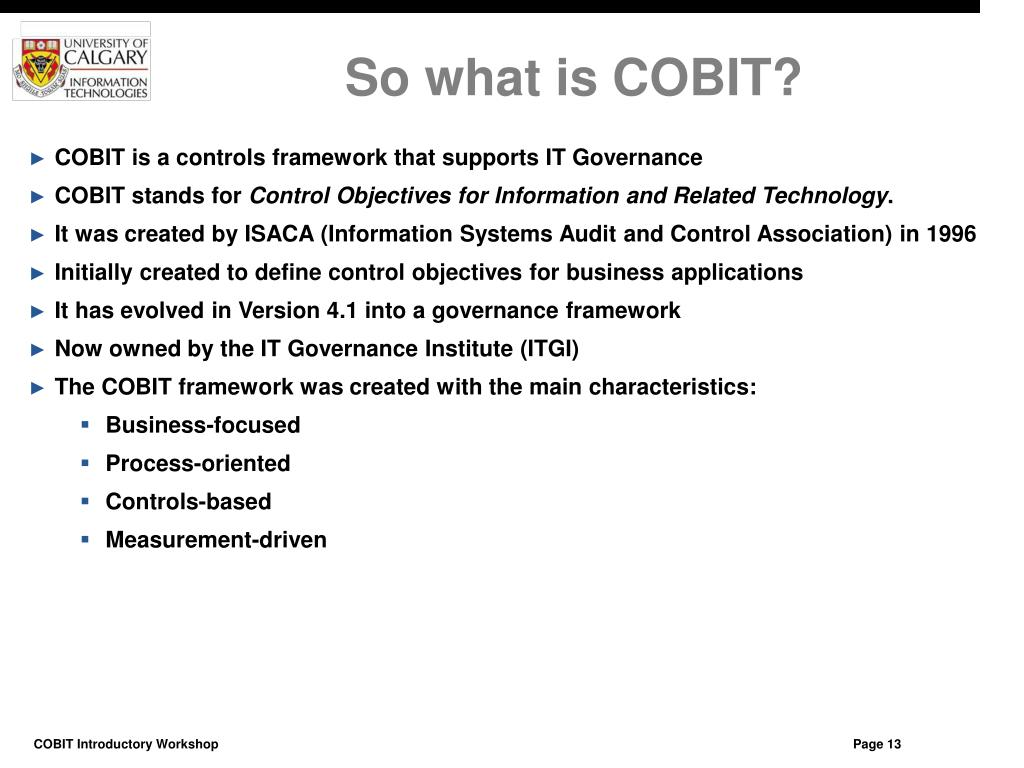 So what is COBIT?