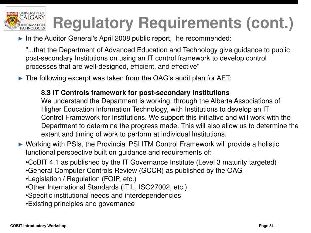 Regulatory Requirements (cont.)