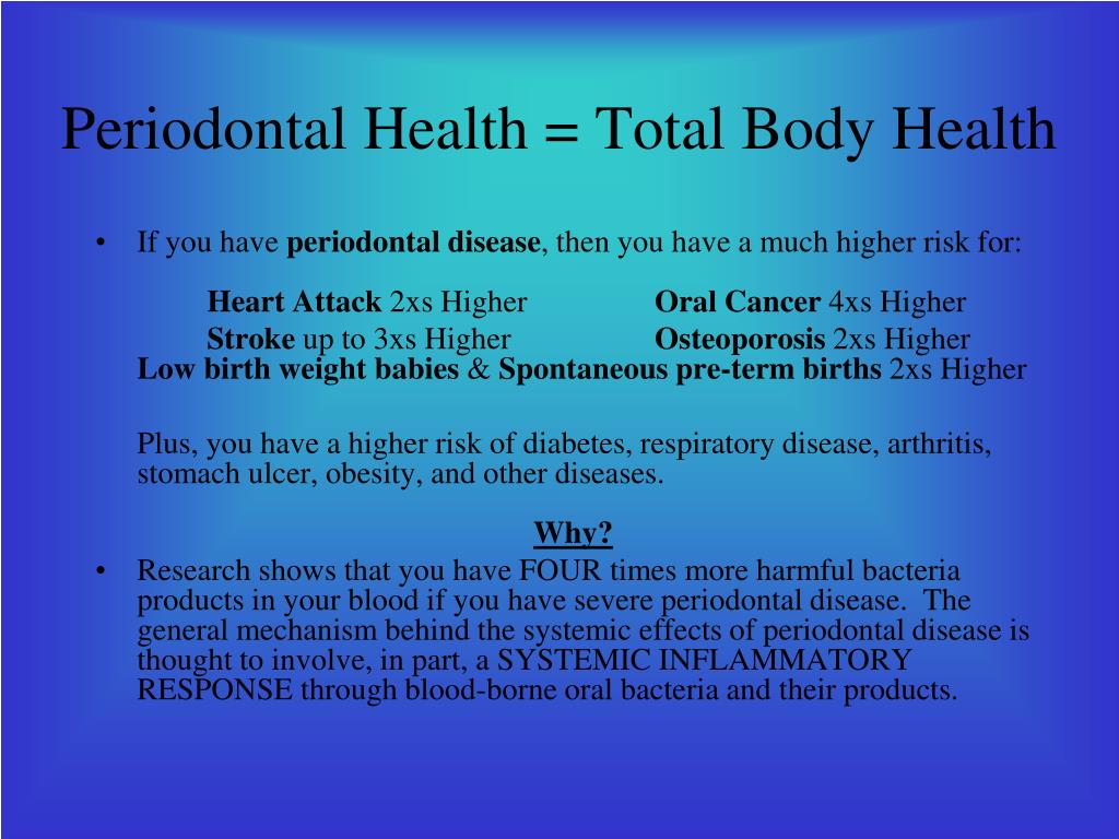 Periodontal Health = Total Body Health
