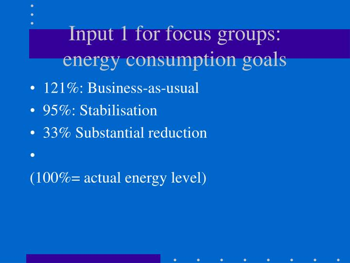 Input 1 for focus groups: