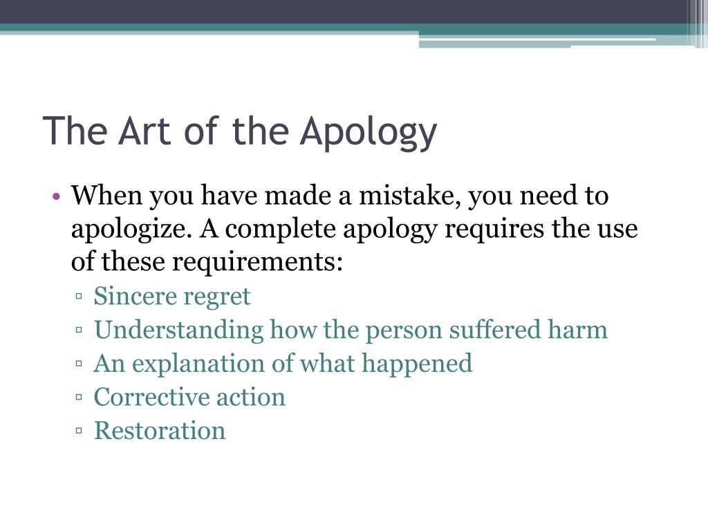 The Art of the Apology