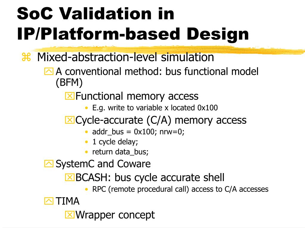 SoC Validation in IP/Platform-based Design