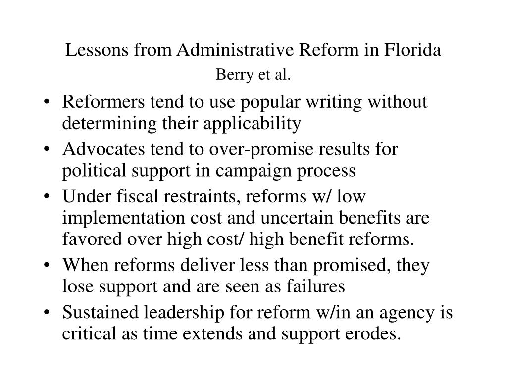 Lessons from Administrative Reform in Florida