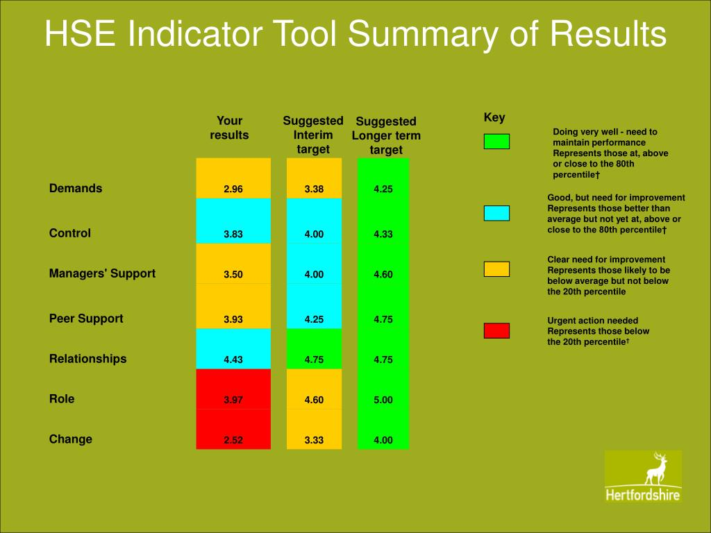 HSE Indicator Tool Summary of Results