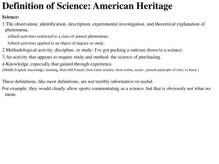 Definition of science american heritage