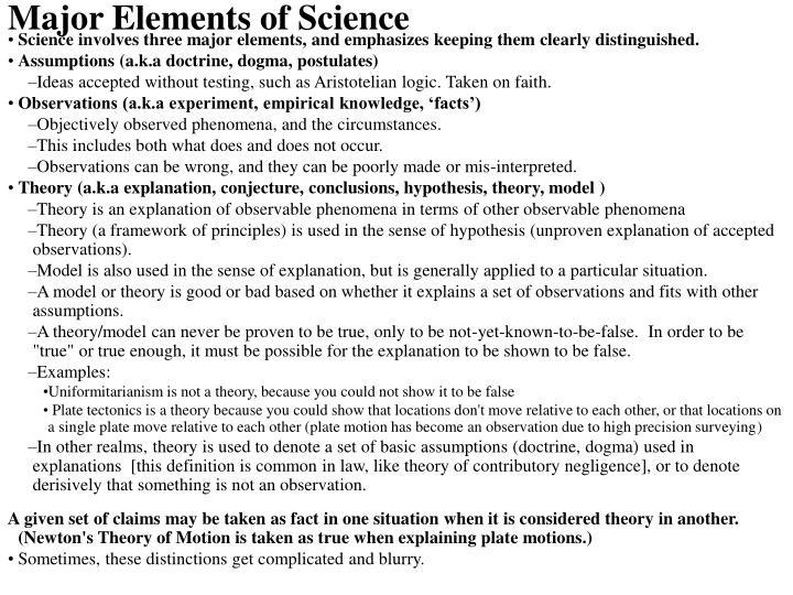 Major Elements of Science