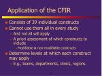 application of the cfir