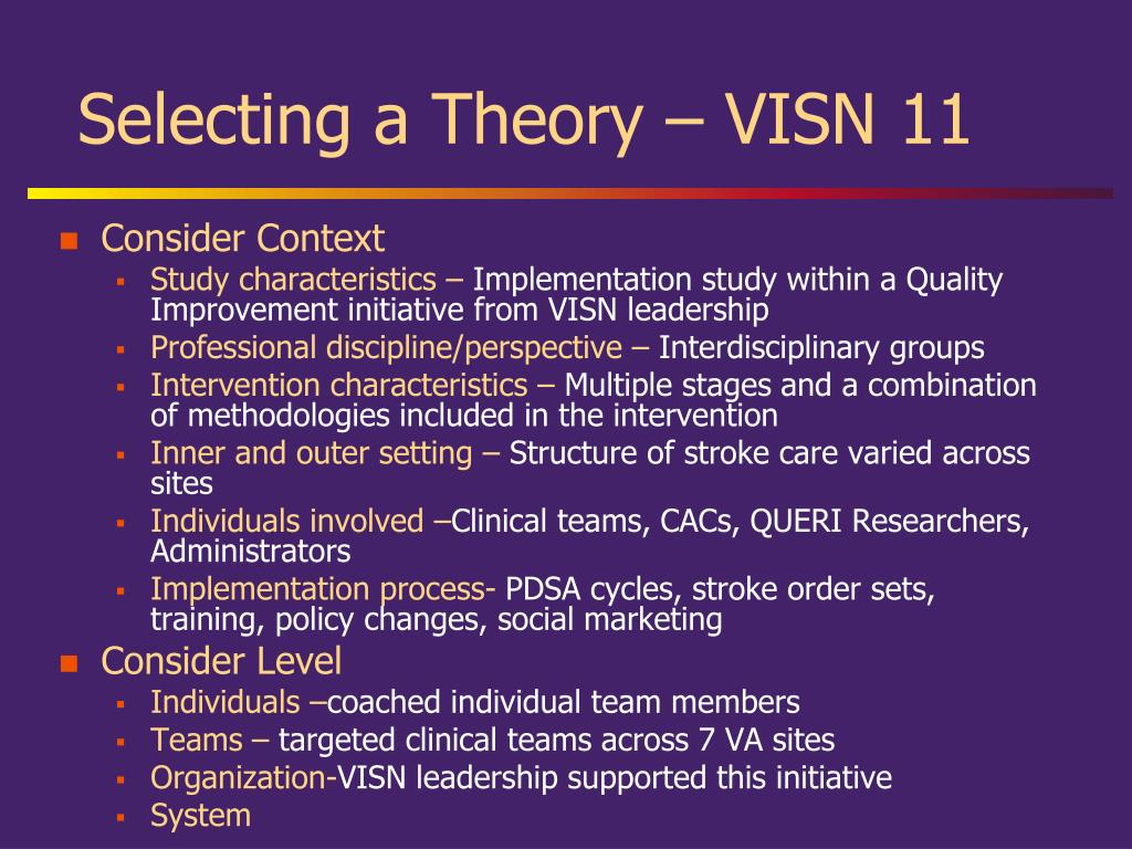 Selecting a Theory – VISN 11