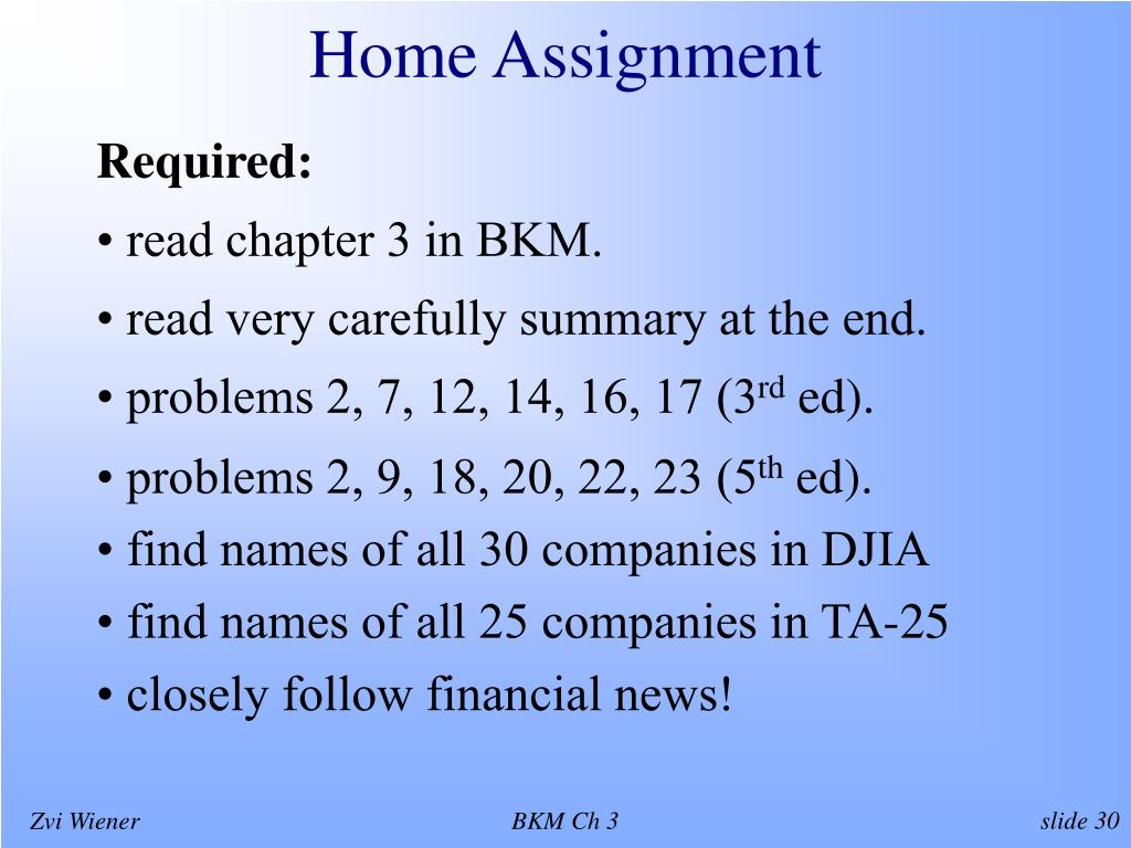 Home Assignment