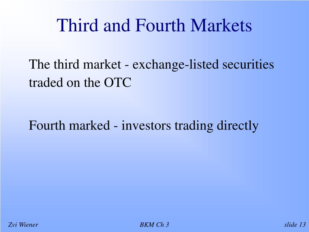 Third and Fourth Markets
