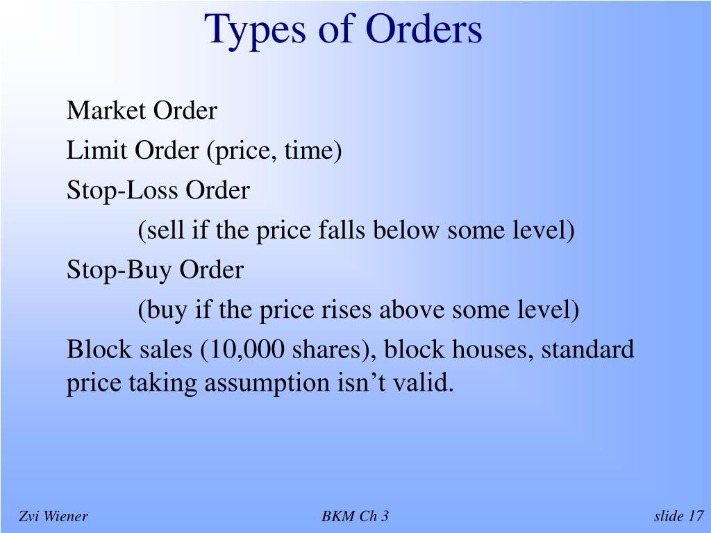 Types of Orders