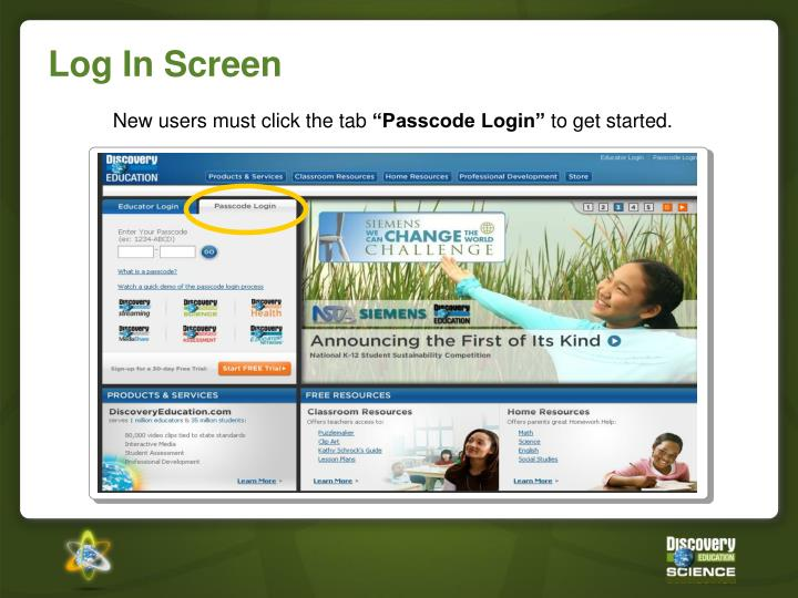 Log in screen