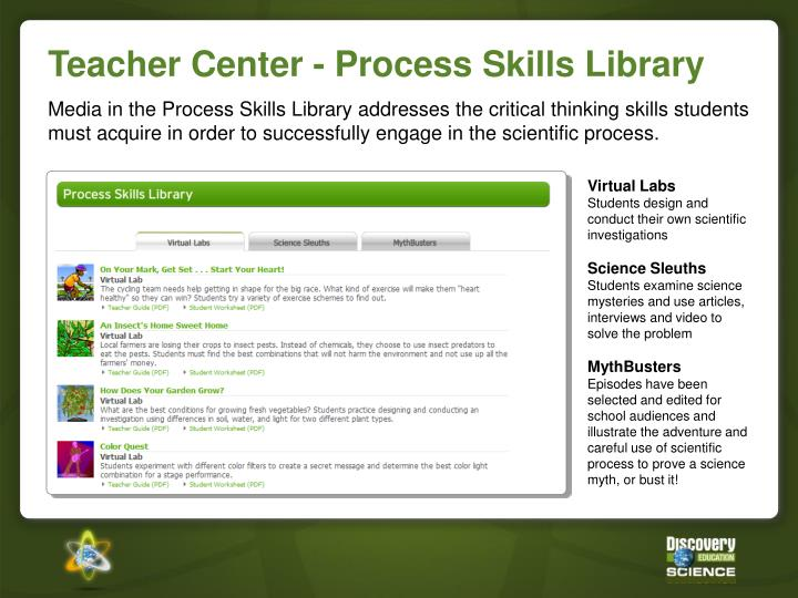 Teacher Center - Process Skills Library