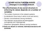 other acculturtion issues changes in social kin network