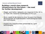 building a world class research infrastructure for the future the need for further development