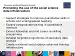 promoting the use of the social science data infrastructure