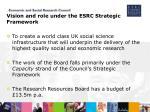 vision and role under the esrc strategic framework