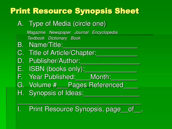 Print Resource Synopsis Sheet