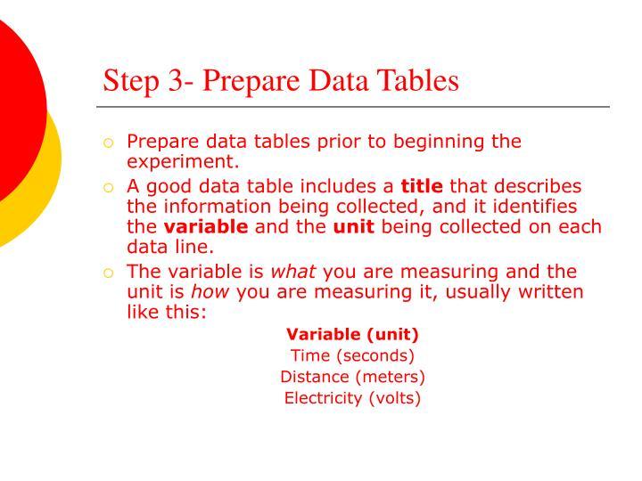 Step 3- Prepare Data Tables
