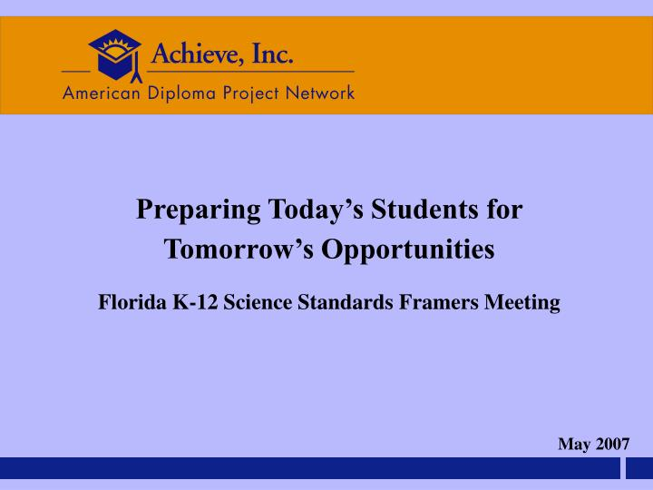 Achieve science ppt florida v 2 5 18 2007 ppt