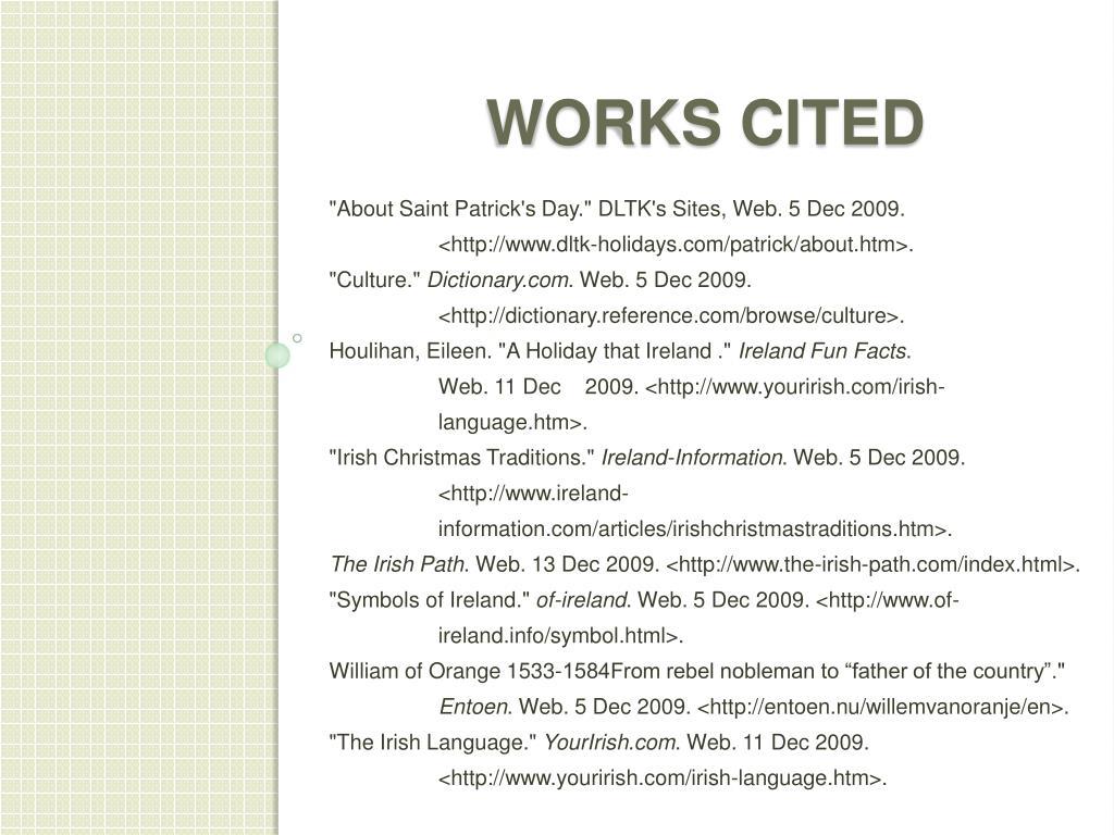 """""""About Saint Patrick's Day."""" DLTK's Sites, Web. 5 Dec 2009.    <http"""