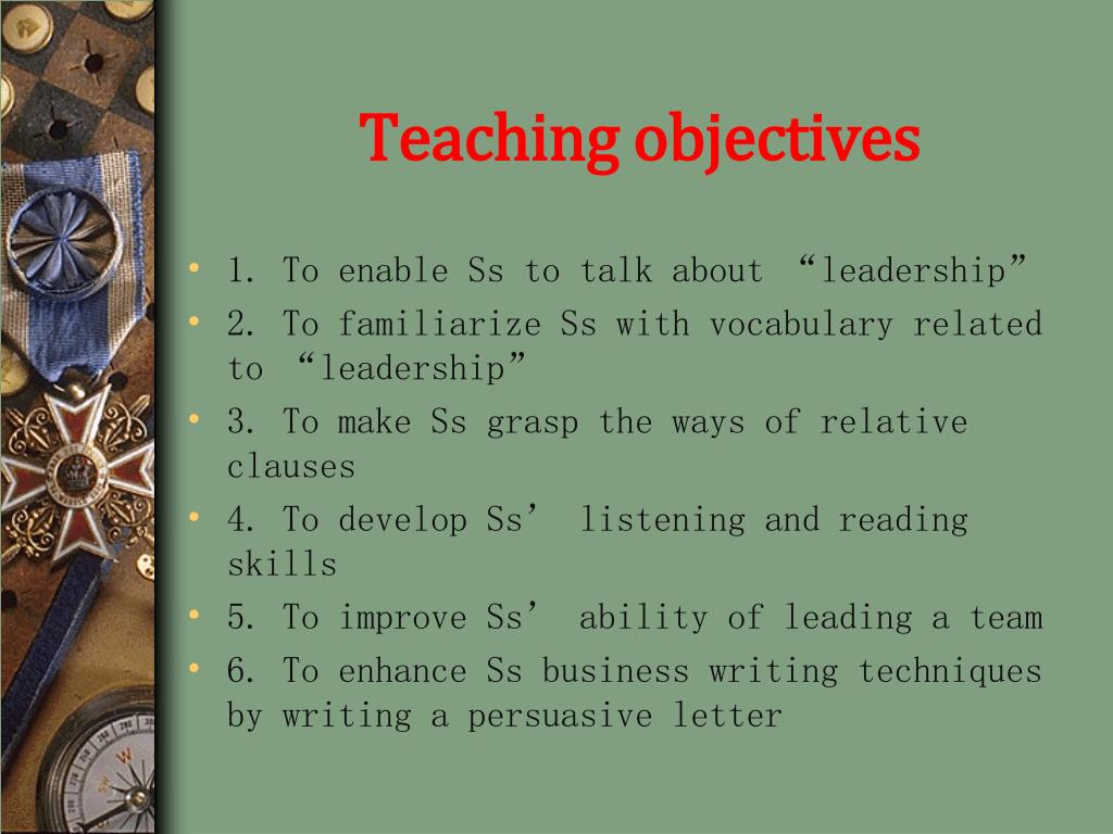 Teaching objectives