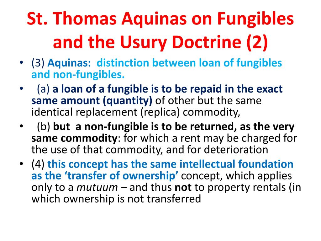 thomas aquinas and usury