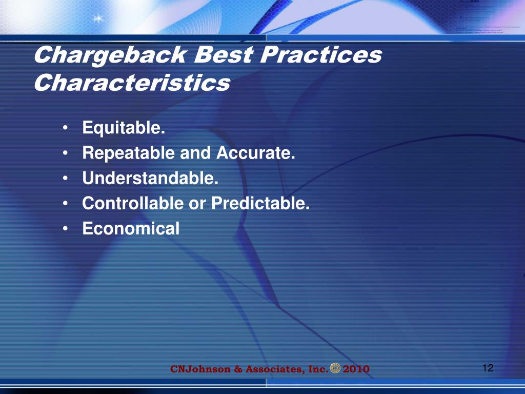 Chargeback Best Practices Characteristics