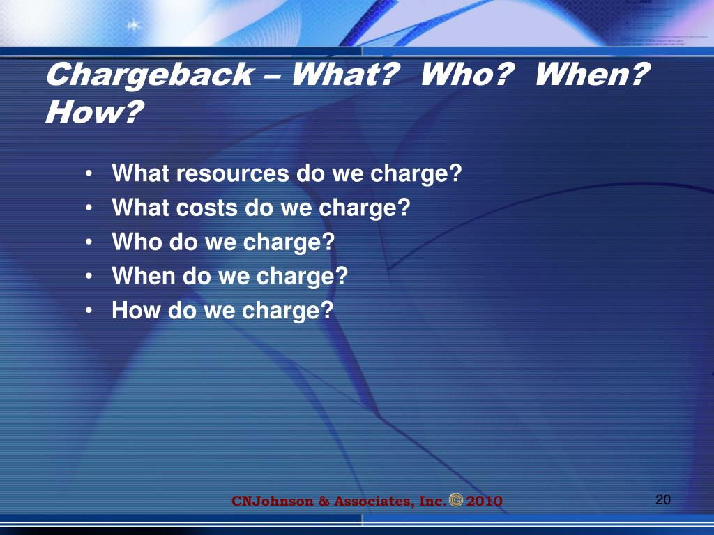 Chargeback – What?  Who?  When?  How?