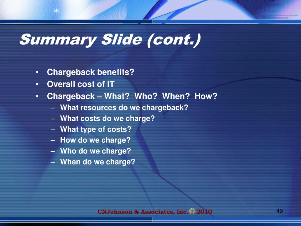 Summary Slide (cont.)