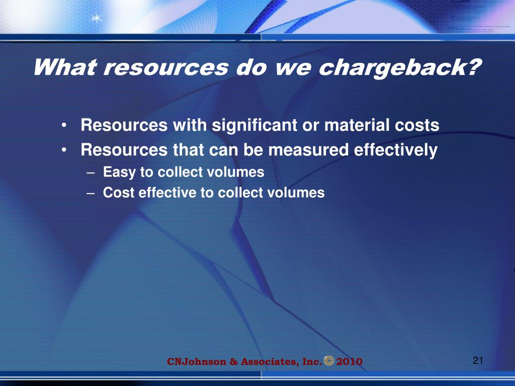 What resources do we chargeback?