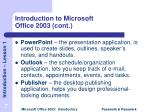 introduction to microsoft office 2003 cont